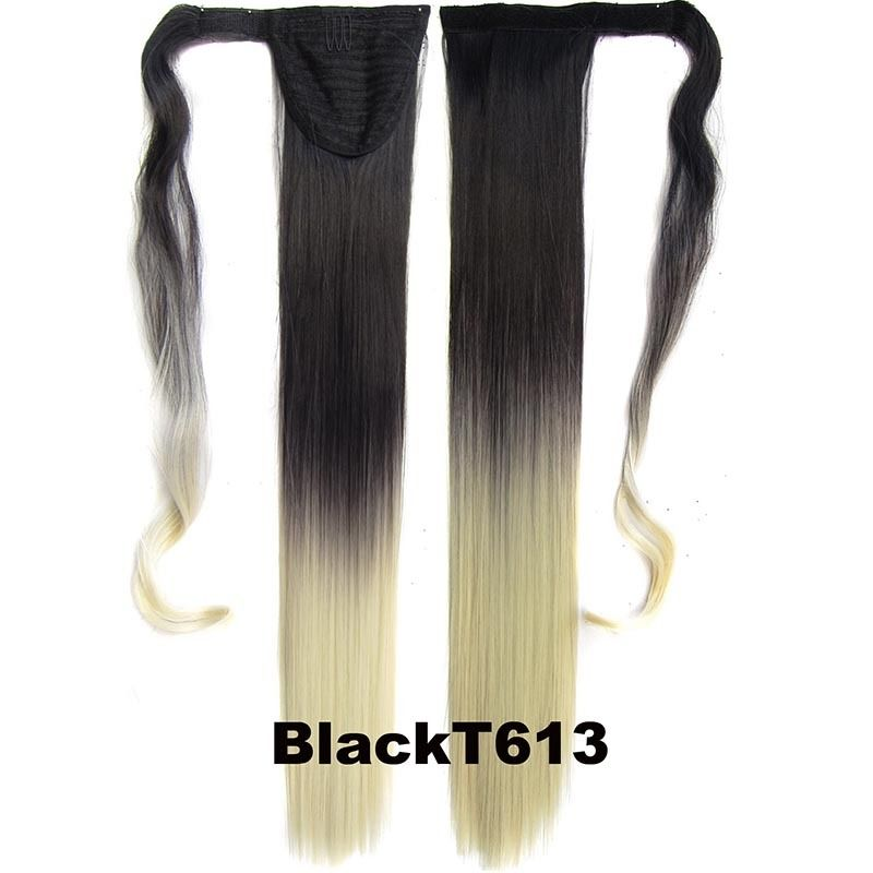 Clip In Dip Dye Ombre Ponytail Hair Extensions Wrap On Hair Piece Straight 10