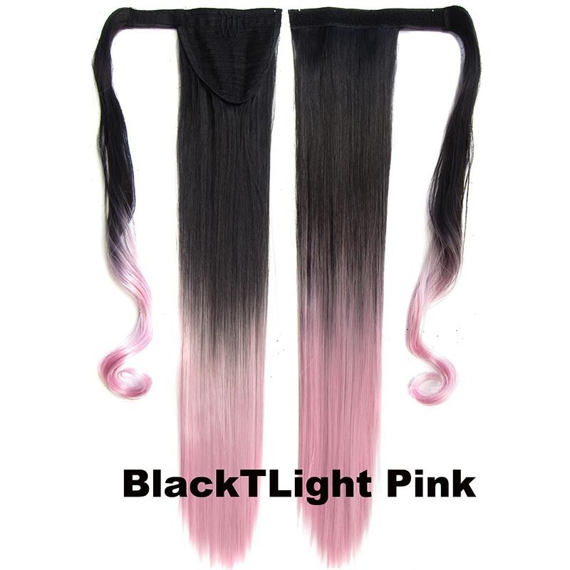 Clip In Dip Dye Ombre Ponytail Hair Extensions Wrap On Hair Piece Straight 11