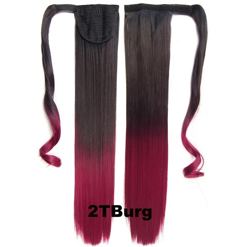 Clip In Dip Dye Ombre Ponytail Hair Extensions Wrap On Hair Piece Straight 2