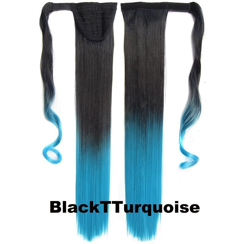 Clip In Dip Dye Ombre Ponytail Hair Extensions Wrap On Hair Piece Straight 4
