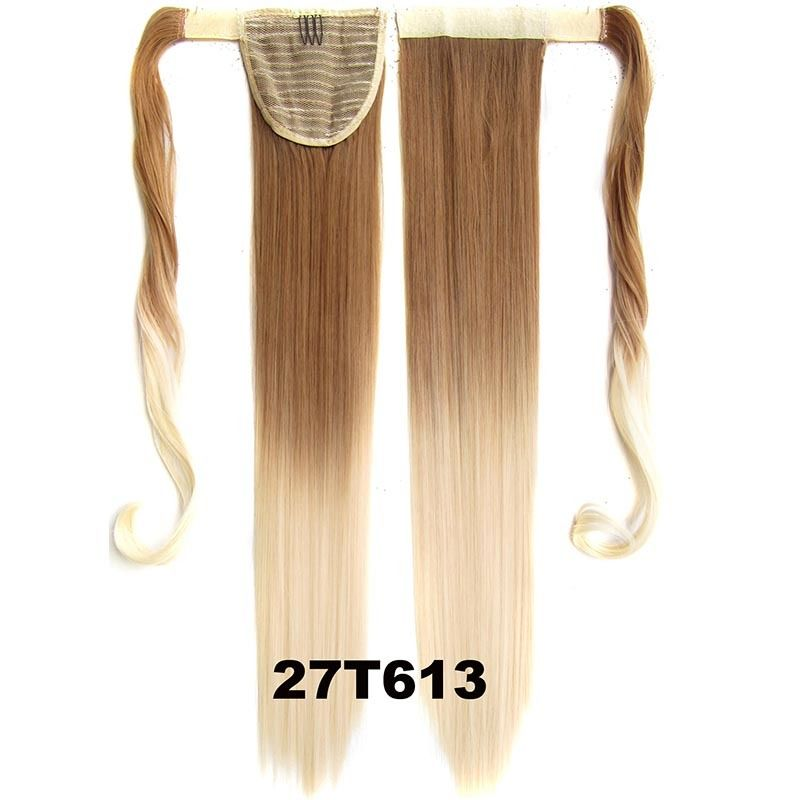 Clip In Dip Dye Ombre Ponytail Hair Extensions Wrap On Hair Piece Straight 6