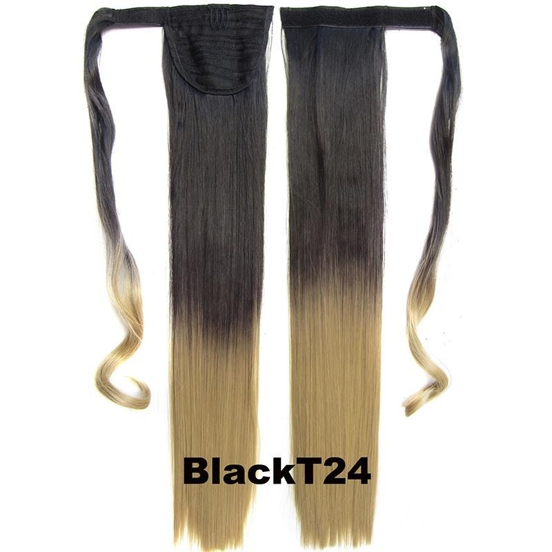 Clip In Dip Dye Ombre Ponytail Hair Extensions Wrap On Hair Piece Straight 8