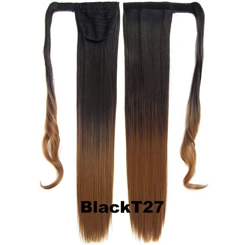 Clip In Dip Dye Ombre Ponytail Hair Extensions Wrap On Hair Piece Straight 9