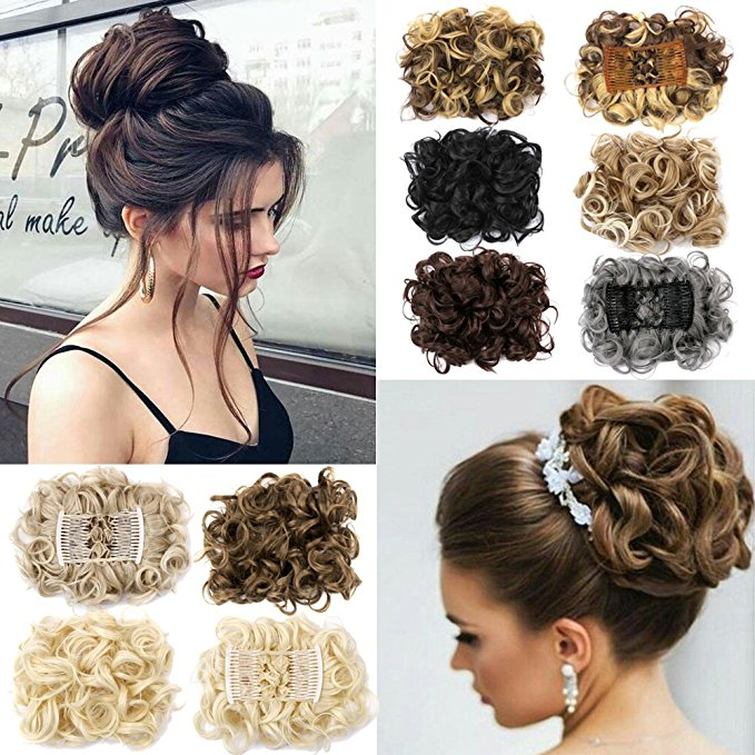 Clip In Hair Bun Chignon Piece Updo Cover Hair Extension Body Wavy For Women 0