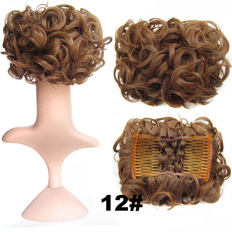 Clip In Hair Bun Chignon Piece Updo Cover Hair Extension Body Wavy