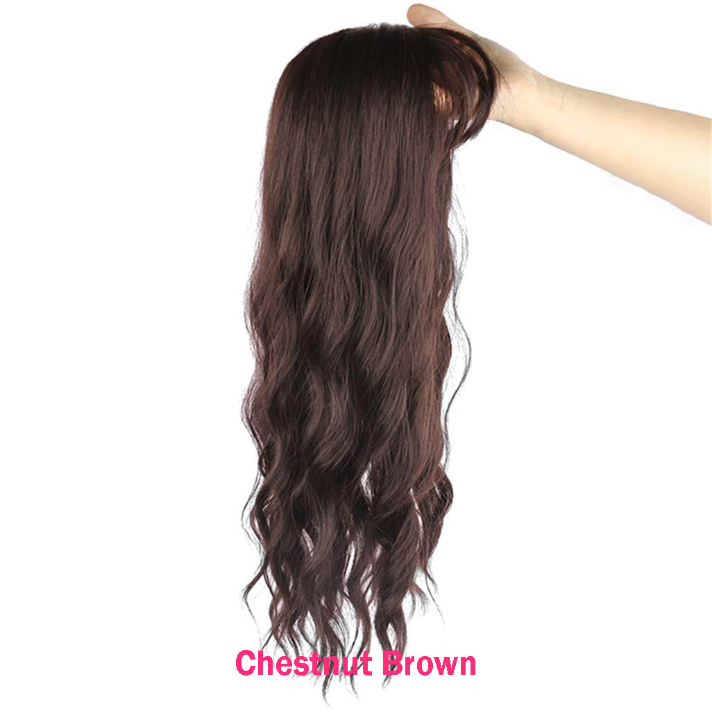 Clip in Hair Topper Hairpieces Body Wavy Synthetic Toppers for Women with Thinning Hair 2