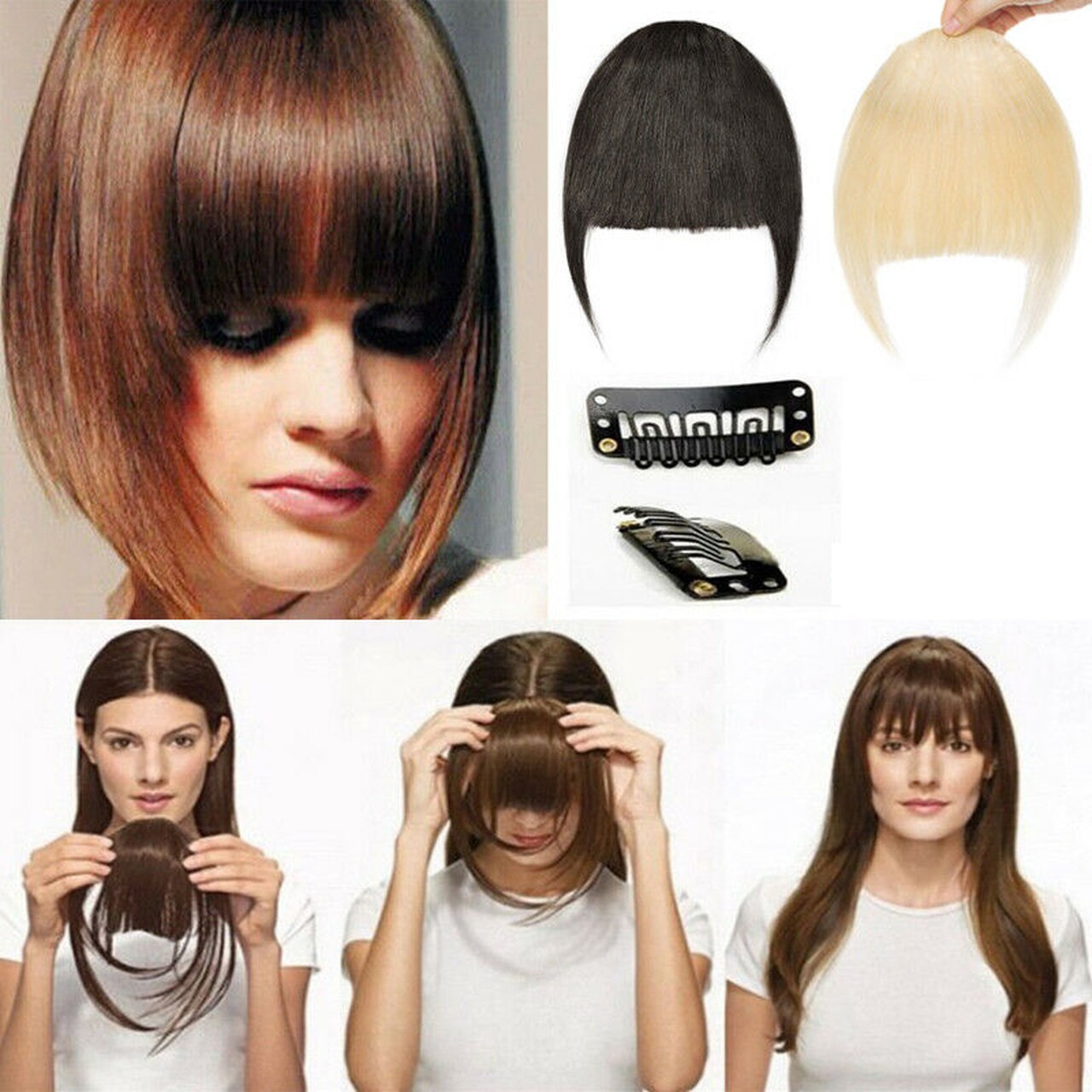 Clip In Human Hair Extensions Neat Bangs Fringe Remy Human Hairpiece 25g Or 50g 1