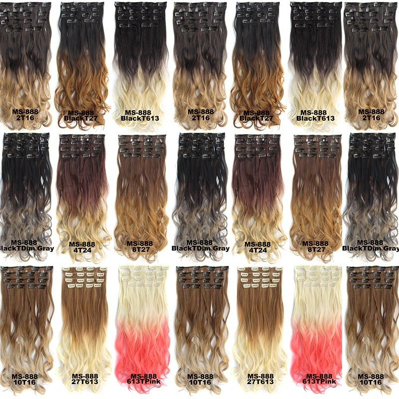 Clip In/On Dip Dye Ombre  Full Head Synthetic Hair Extensions Body Wave 7pcs