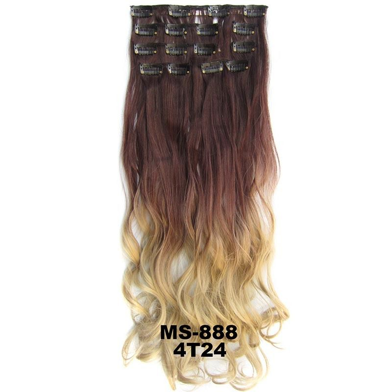 Clip Inon Dip Dye Ombre Full Head Synthetic Hair Extensions Body