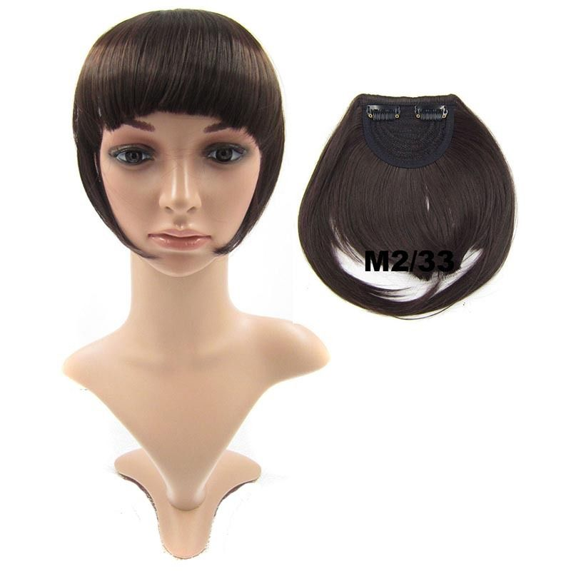 Clip In/On Neat Bangs Fringes With Temples Hair Extensions Straight 1