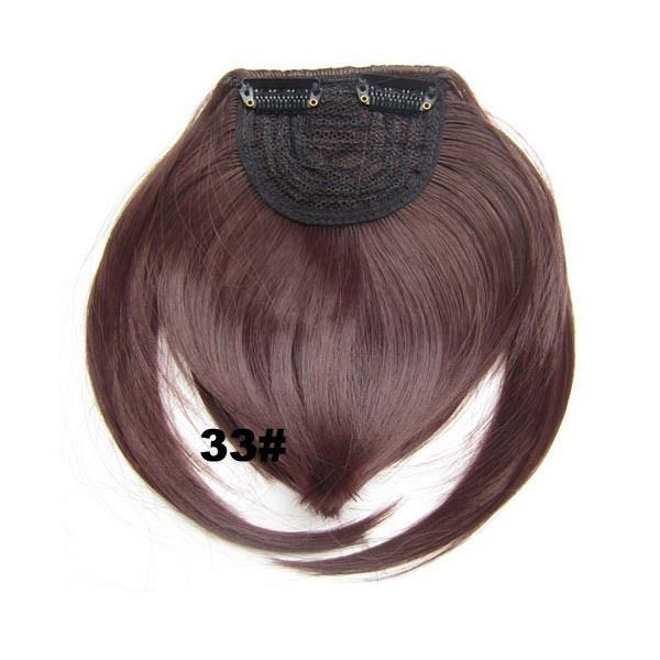 Clip In/On Neat Bangs Fringes With Temples Hair Extensions Straight 17