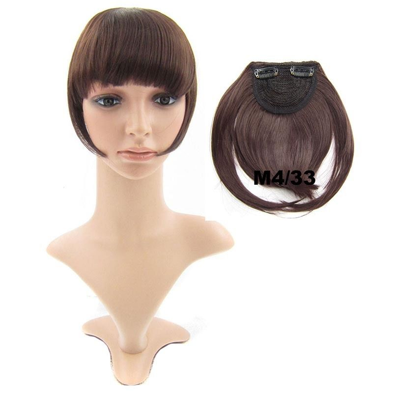 Clip In/On Neat Bangs Fringes With Temples Hair Extensions Straight 24