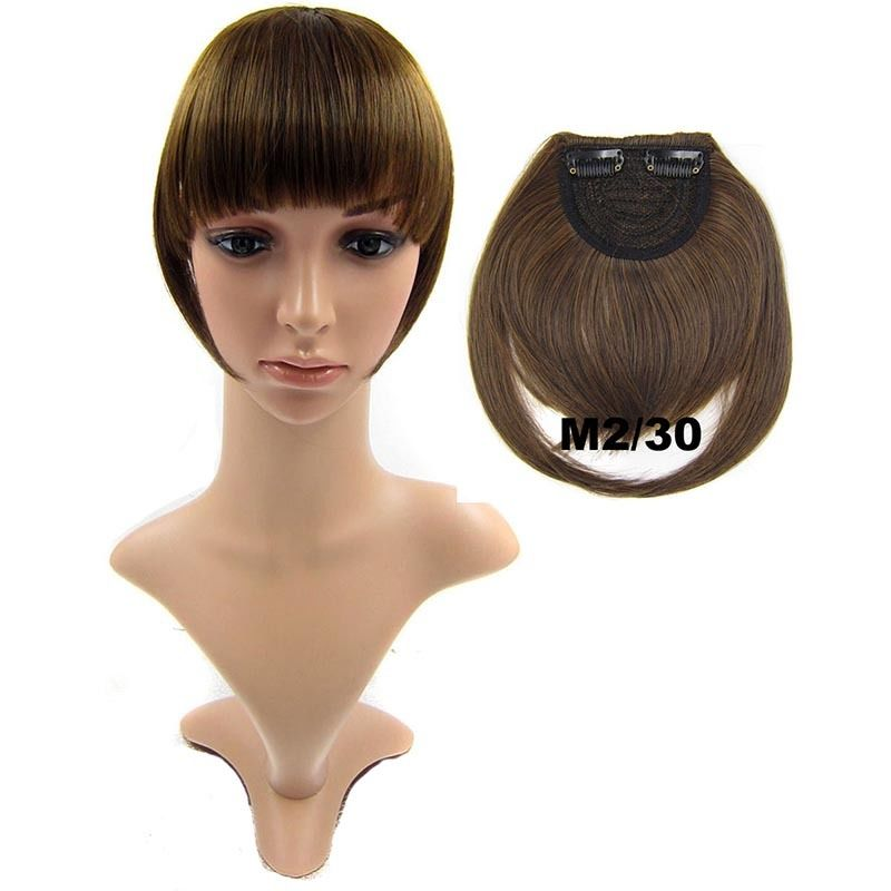 Clip In/On Neat Bangs Fringes With Temples Hair Extensions Straight 32