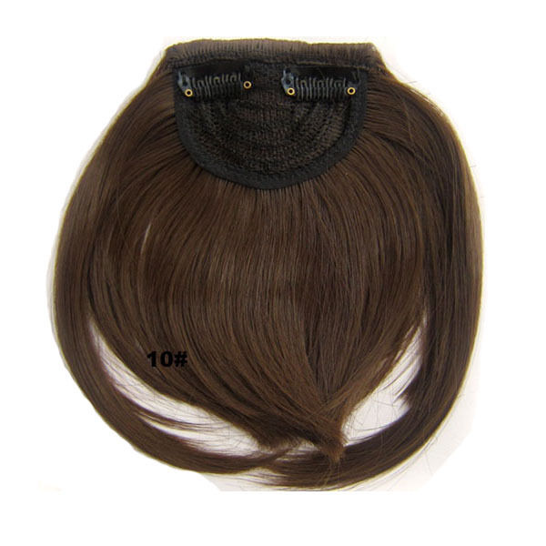 Clip In/On Neat Bangs Fringes With Temples Hair Extensions Straight 7