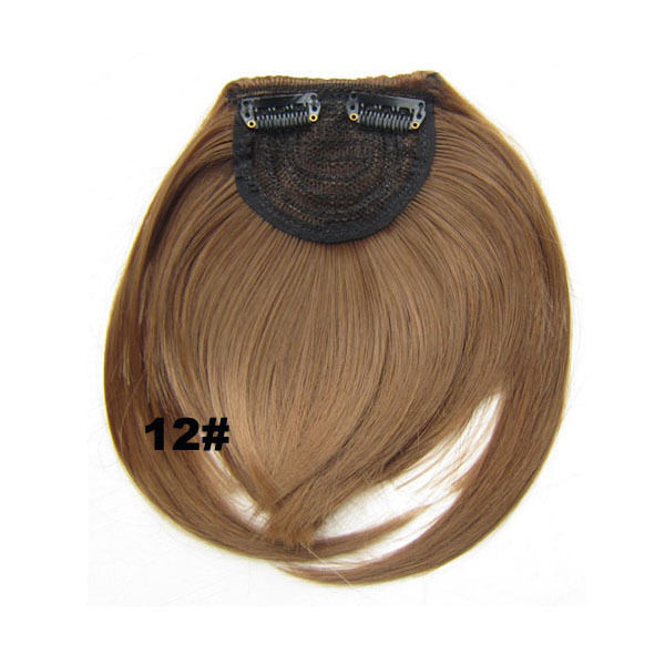 Clip In/On Neat Bangs Fringes With Temples Hair Extensions Straight 8