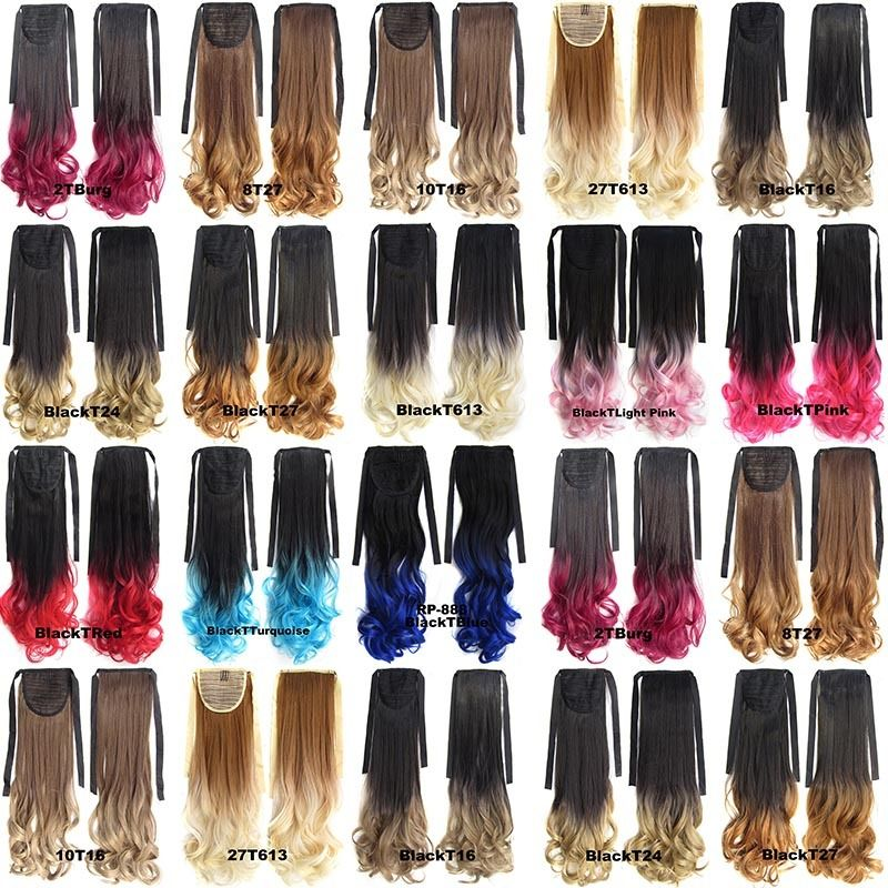 Clip In/On Ponytail Hair Extensions Dip Dye Ombre Pony Tail Hairpiece Body Wave