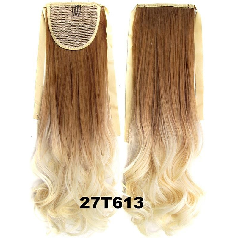 Clip In/On Ponytail Hair Extensions Dip Dye Ombre Pony Tail Hairpiece Body Wave 10