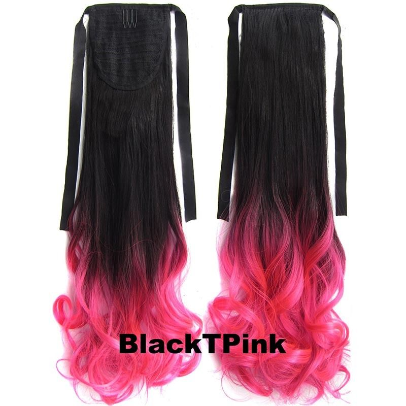 Clip In/On Ponytail Hair Extensions Dip Dye Ombre Pony Tail Hairpiece Body Wave 3
