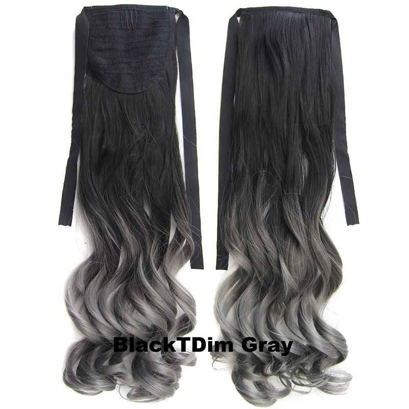 Clip In/On Ponytail Hair Extensions Dip Dye Ombre Pony Tail Hairpiece Body Wave 6