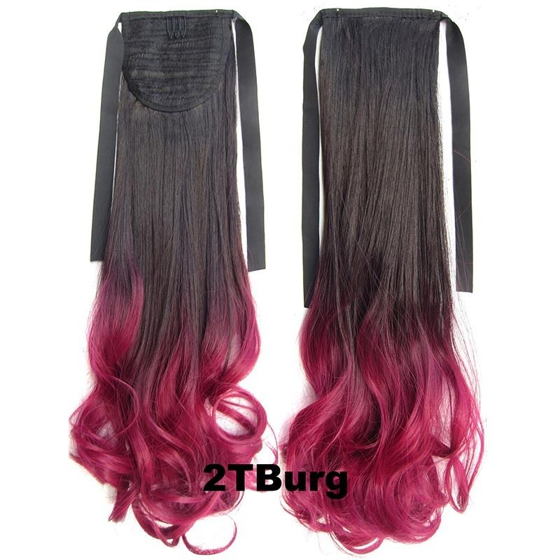 Clip In/On Ponytail Hair Extensions Dip Dye Ombre Pony Tail Hairpiece Body Wave 7