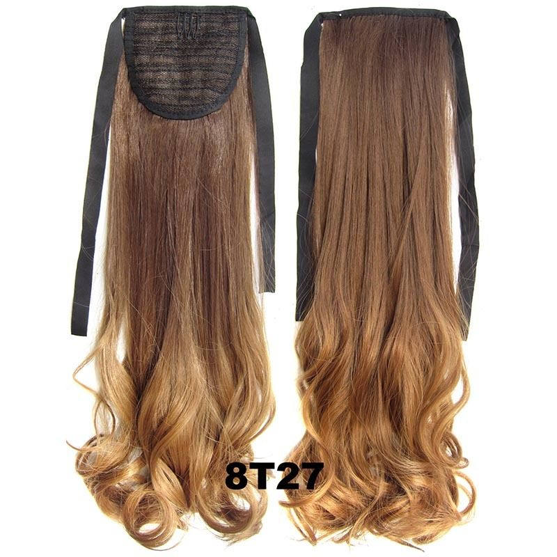 Clip In/On Ponytail Hair Extensions Dip Dye Ombre Pony Tail Hairpiece Body Wave 8
