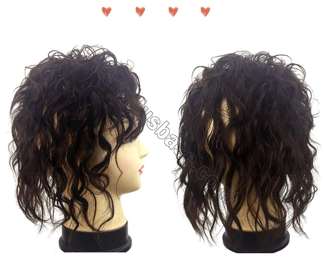 Clip in Real Human Hair Natural Curly Topper Hairpiece with Bangs for Women with Thinning Hair 4