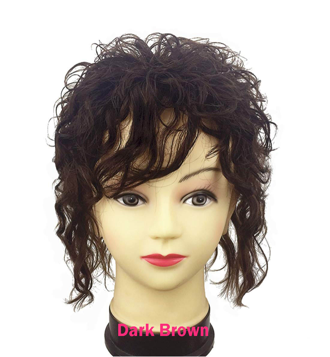 Clip in Real Human Hair Natural Curly Topper Hairpiece with Bangs for Women with Thinning Hair 2