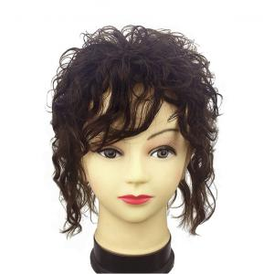 Clip in Real Human Hair Natural Curly Topper Hairpiece with Bangs for Women with Thinning Hair