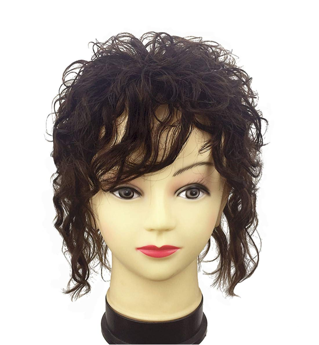 Clip in Real Human Hair Natural Curly Topper Hairpiece with Bangs for Women with Thinning Hair 6