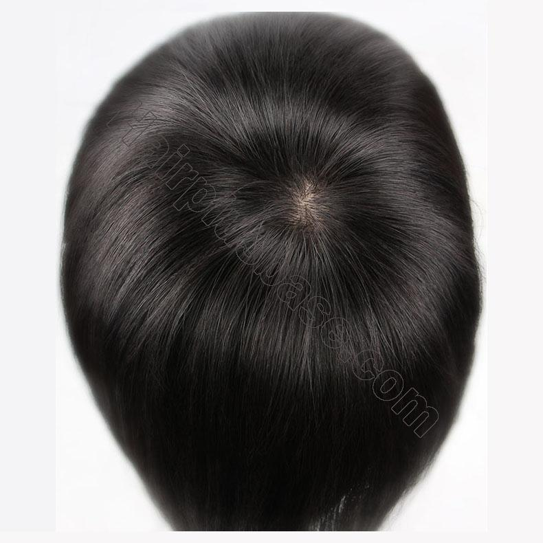 Clip in Topper for Women with Curtain Bangs Remy Human Hair Silk Base Top 2
