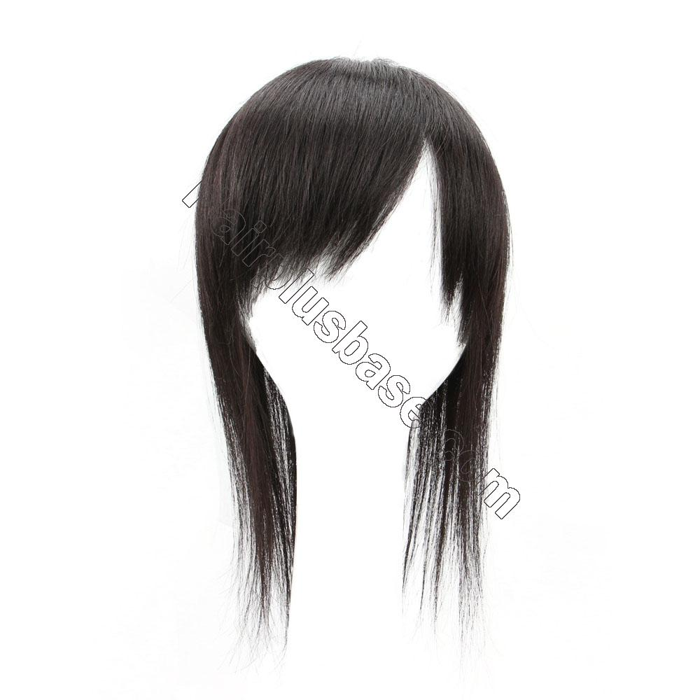 Clip in Topper for Women with Curtain Bangs Remy Human Hair Silk Base Top 3