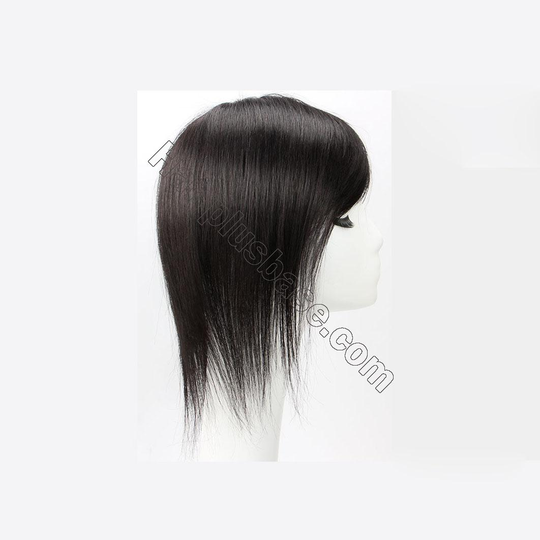 Clip in Topper for Women with Curtain Bangs Remy Human Hair Silk Base Top 5