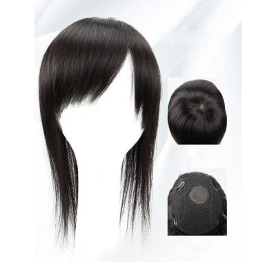 Clip in Topper for Women with Curtain Bangs Remy Human Hair Silk Base Top