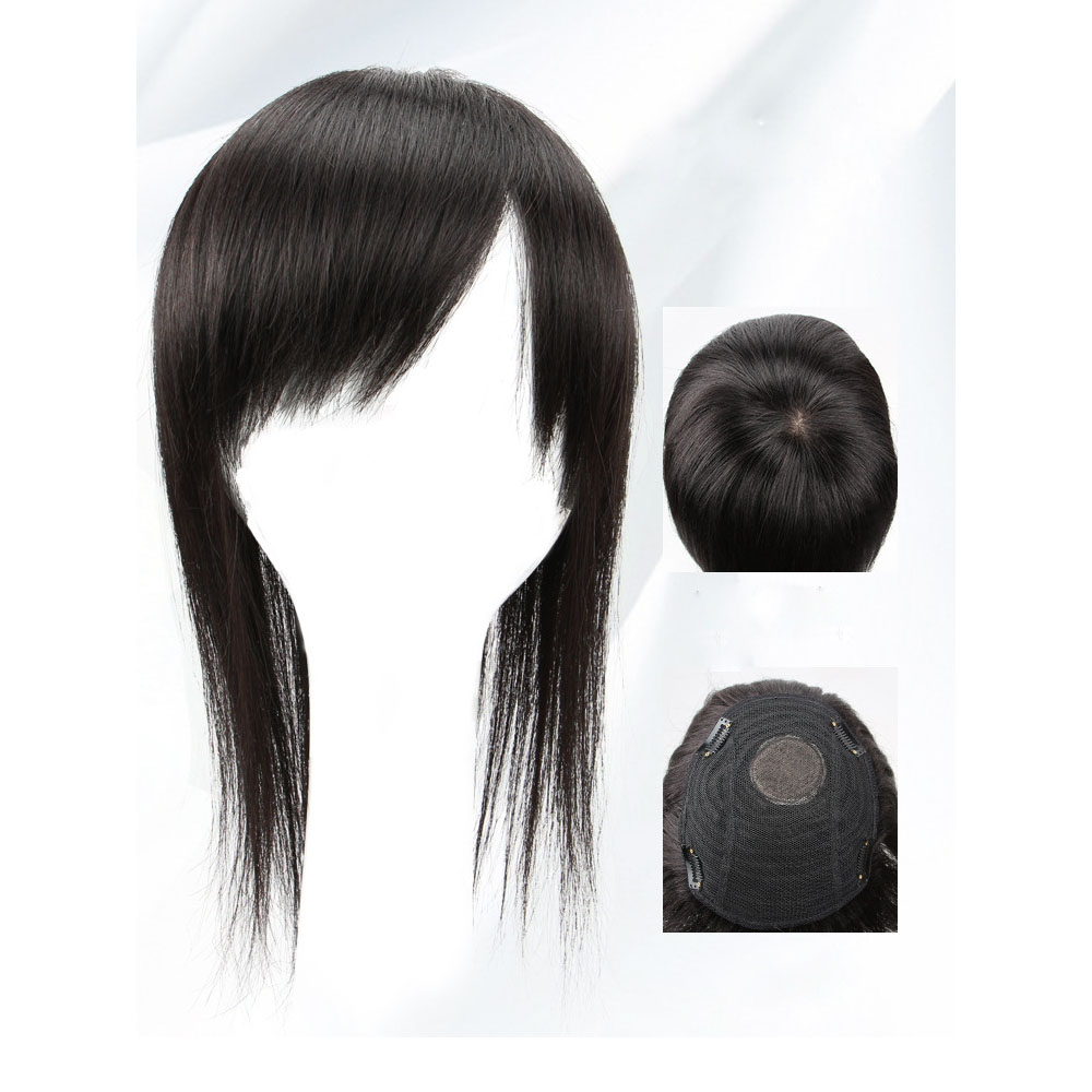 Clip in Topper for Women with Curtain Bangs Remy Human Hair Silk Base Top 7