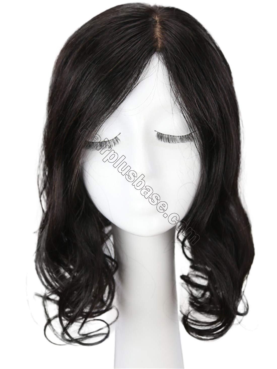 Clip in Wavy Human Hair Toppers Hairpiece for Women, 6.3 Inch x 6 Inch Thick Silk Base Crown Topper for Thinning Hair, Free Part 2