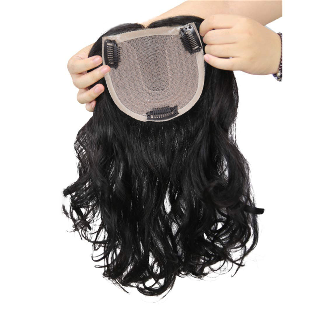 """Clip in Wavy Human Hair Toppers Hairpiece for Women, 6.3"""" x 6"""" Thick Silk Base Crown Topper for Thinning Hair, Free Part 6"""