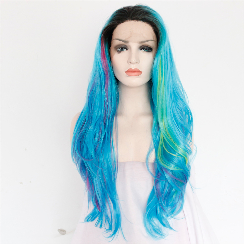 Colorful Ombre Blue Green Purple Body Wave Front Lace Wig