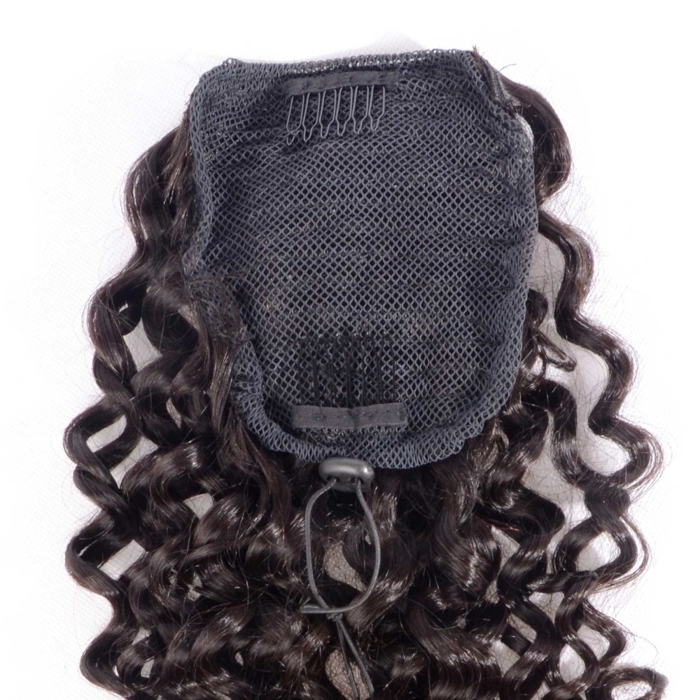 Curly Human Hair Ponytail Extensions Brazilian Virgin Hair Drawstring Pony Tail 0