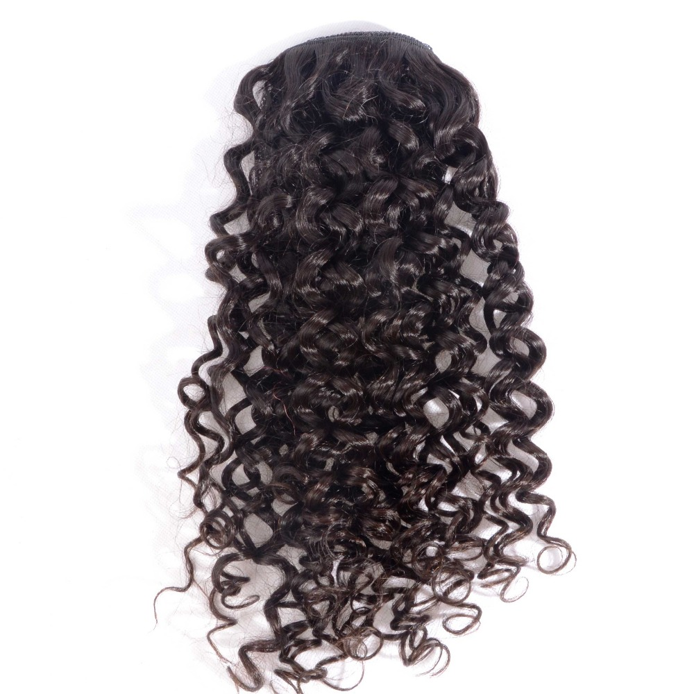 8 - 26 Inch Curly Human Hair Ponytail Extensions Brazilian Virgin Hair Drawstring Pony Tail #2 Dark Brown