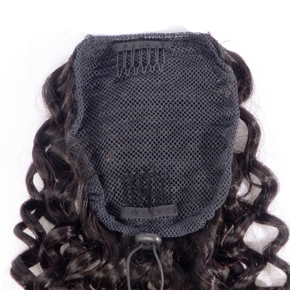 Curly Human Hair Ponytail Extensions Brazilian Virgin Hair Drawstring Pony Tail 3