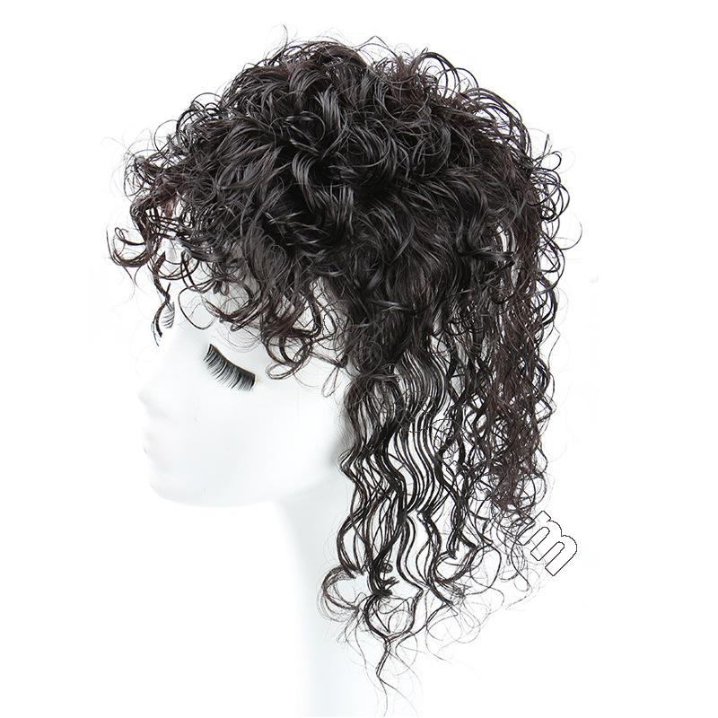 Curly Human Hair Topper Clip on Topper Wiglet for Women 2