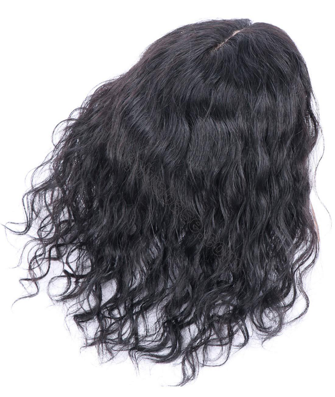 Curly Human Hair Topper Hair Thicken Hairpiece for Women with Thin Hair on Top, 5 Inchx5.5 Inch Silk Base 2