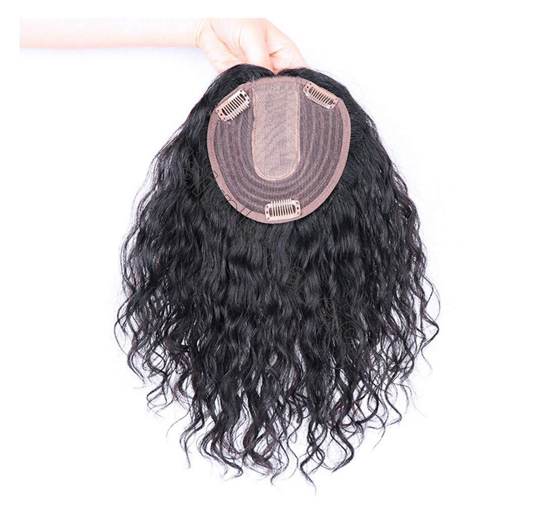 Curly Human Hair Topper Hair Thicken Hairpiece for Women with Thin Hair on Top, 5 Inchx5.5 Inch Silk Base 3