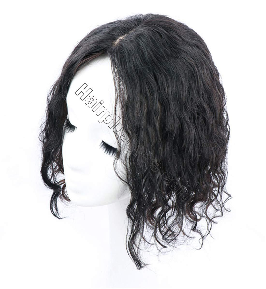 Curly Human Hair Topper Hair Thicken Hairpiece for Women with Thin Hair on Top, 5 Inchx5.5 Inch Silk Base 6