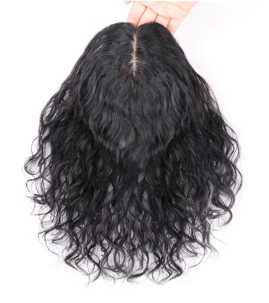 "Curly Human Hair Topper Hair Thicken Hairpiece for Women with Thin Hair on Top, 5""x5.5"" Silk Base 8"
