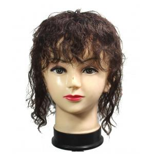 Curly Human Hair Topper with Bangs for Women, Clips in Volume Hairpiece for Hair Loss