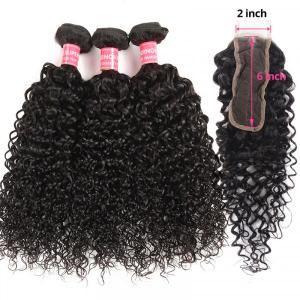 Curly Human Hair Weave With 2x6 Size Lace Closure Virgin Curly Hairstyles