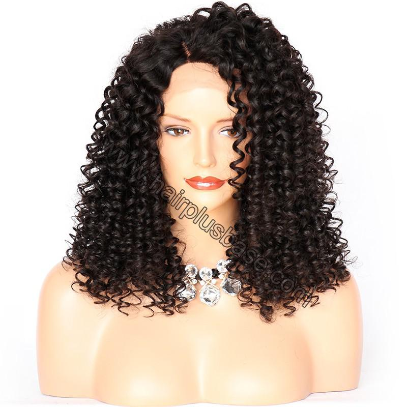 Curly Lace Front Wigs Indian Remy Hair, Natural Color 1