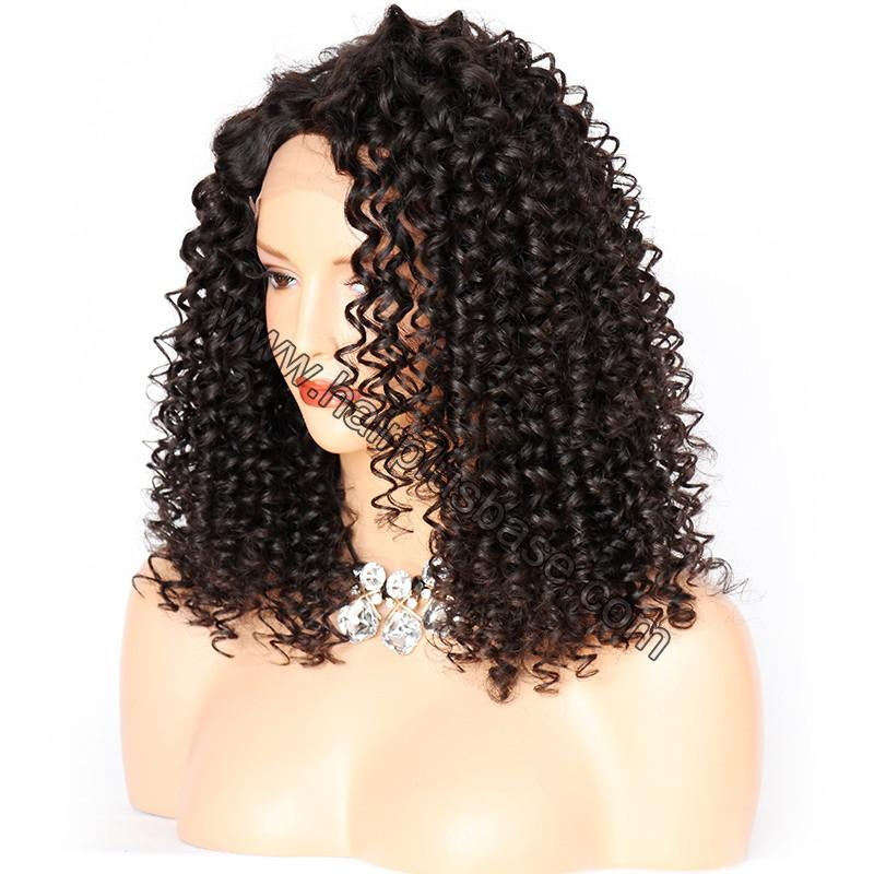 Curly Lace Front Wigs Indian Remy Hair, Natural Color 3