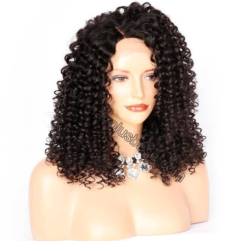 Curly Lace Front Wigs Indian Remy Hair, Natural Color 5